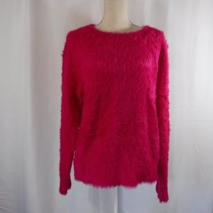 Lou & Grey  Womens L Hot Pink Eyelash Sweater B24